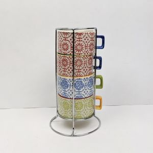 Pier 1 Imports Hand Painted Stackable Mugs